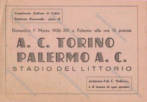Locandina Palermo - Torino 1-marzo-1936